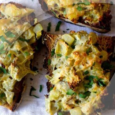 Bruschettas with Artichokes and Potatoes