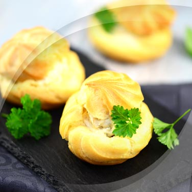 Profiteroles with Chicken and Pickles